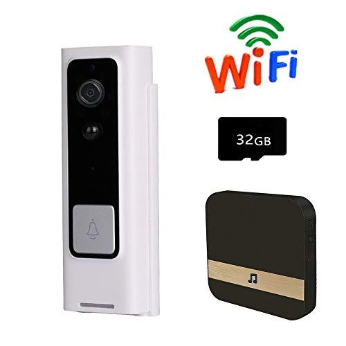 LiYuJ video deurbel met 32 GB geheugenkaart en binnen-gong, video deurbel met camera nachtzicht bewegingsmelder en twee manieren audio, 166 graden groothoek 720P HD video deurintercom