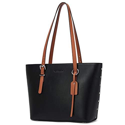Leder Handtasche Damen Schultertaschen Designer Shopper Taschen Tote Bag Schwarz
