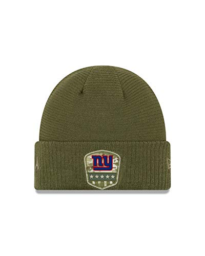 New Era York Giants Beanie On Field 2019 Salute To Service Knit Olive - One-Size