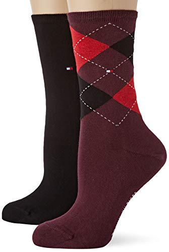 Tommy Hilfiger Damen TH WOMEN CHECK 2P Socken, Mehrfarbig (Bordeaux 070), 35/38 (2er Pack)