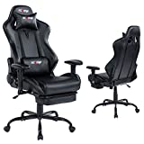 KCREAM E-Sports Chair with Headrest and Lumbar Pillows PVC Leather Ergonomic High-Back Gaming Chair Adjustable Height Professional Gamer Chair