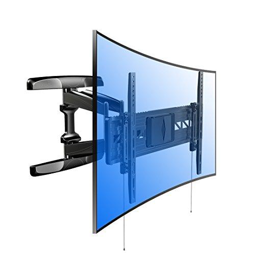 Fleximounts R2 Curved TV Wandhalterung für extragroße Fernseher, Wandhalter geeignet für 81-178cm (32-70 Zoll), max. 45 kg, VESA 200 x 200 bis 600 x 400, schwarz