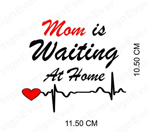 signEver Bike Sticker Mom is Waiting at Home Standard Tank Decals for Royal Enfield Classic 350 500 (L x H 11.50 x 10.50 cm, Red, Black)
