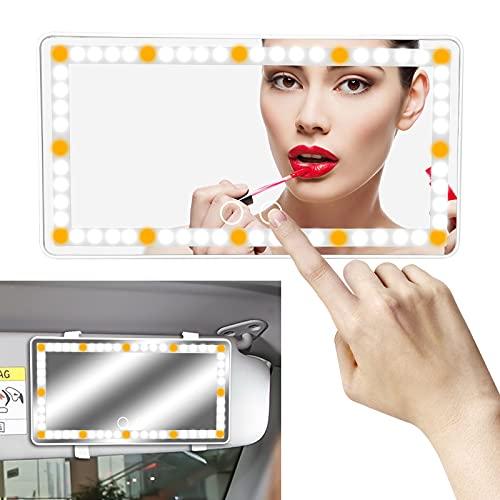 Auto Make-up Spiegel mit 60 LED & 3 Beleuchtungs Modus & USB Kabel, Universal Touch Sonnenblende Kosmetikspiegel, Automobile Wiederaufladbare Vanity Spiegel für Make-up Selfie Beleuchtung