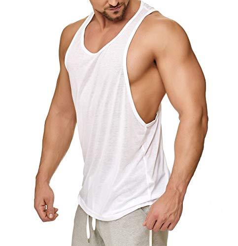 Muscle Shirt Herren Tank Top Achselshirt mit tief geschnittenem Armausschnitt Weiß, Größe:L
