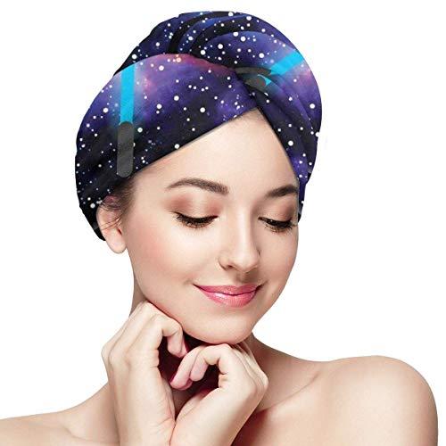 Enveloppement de cheveux à séchage rapide, cadeau pour le jour de la fierté geek 25 mai étoiles Galaxy Universe thème motif imprimé, bonnet de douche absorbant