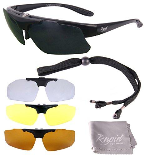 Rapid Eyewear Rx POLARISIERTE SPORTBRILLE SEHSTÄRKE mit Optikadapter und Wechselgläser x4. Brille für Radsport, Ski, Schießen, Laufen, usw. Optische Sonnenbrille Für Herren und Damen
