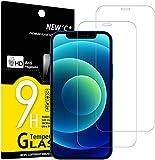 NEW'C 2 Unidades, Protector de Pantalla para iPhone 12/12 Pro (6.1'), Antiarañazos, Antihuellas, Sin Burbujas, Dureza 9H, 0.33 mm Ultra Transparente, Vidrio Templado Ultra Resistente