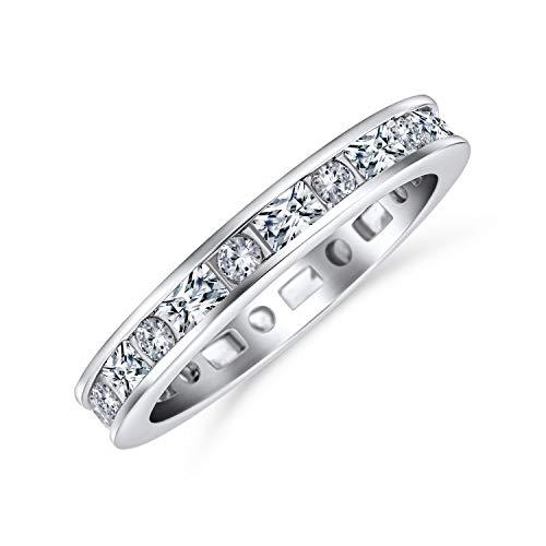 Bling Jewelry Sottile Minimalista Pave Rotonda Baguette Eternità Anniversario di Nozze Anello di Banda per Donne Argento 925 2Mm