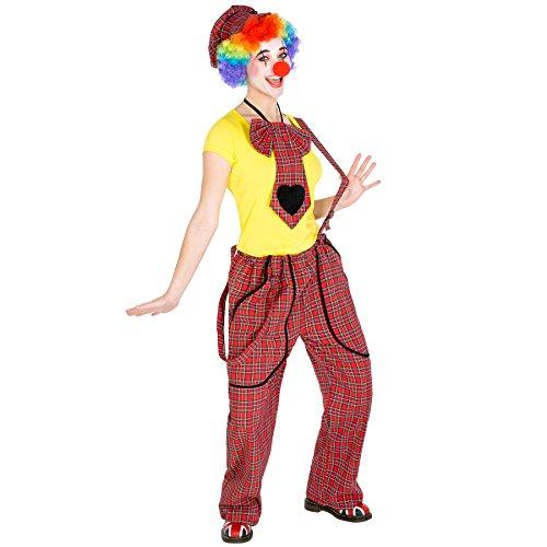 TecTake dressforfun Frauenkostüm Clown | Latzhose+ Schildkappe und Clown-Nase | Clownfrau Clown-Kostüm Fasching (L | Nr. 300815)