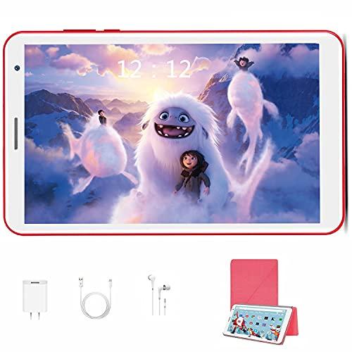 Tablet 8 Pulgadas HD+IPS Android 10.0, 3GB RAM + 32GB ROM /128GB Quad Core 1.6Ghz 5000mAh Tablet PC con WiFi Bluetooth OTG (Rojo)