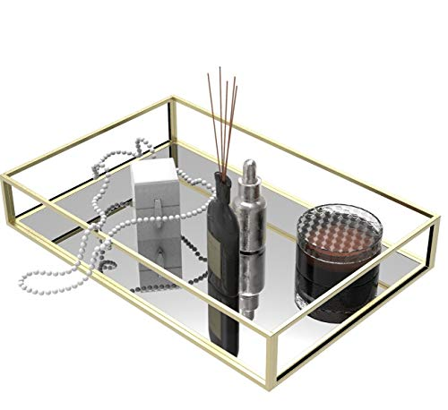 Yieach Dekoratives Tablett, goldenes Spiegeltablett für Schmuck, Schmucktablett, Aufbewahrung, Organizer, Make-up-Tablett für Schminktisch, Kommode, 1 Stück (30,5 cm)