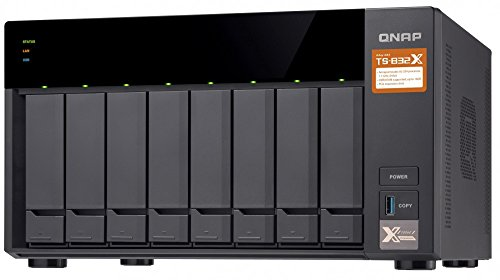 QNAP TS-832X-2G-US High-Performance 8-Bay 64-bit NAS with Built-in 2 x 10GbE (SFP+) Network, Hardware Encryption, Quad Core 1.7GHz, 2GB RAM, 2 x 1GbE