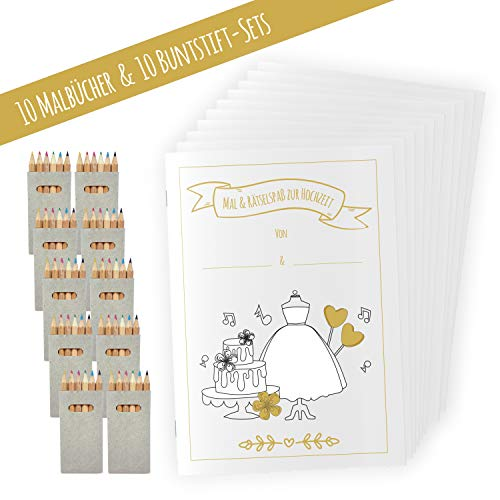 10 Hochzeitsmalbuch für Kinder mit Stiften (10er Set), Hochzeit für Kinder, Kinderbeschäftigung Hochzeit, Gastgeschenk Hochzeit, Hochzeit Mitgesbel, Malbuch Hochzeit, JEKA