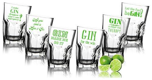 Set risparmio di 6 bicchieri da Gin Tonic inclinati con scritte ENGLISH – Divertenti bicchieri da Gin 35 cl – compleanno
