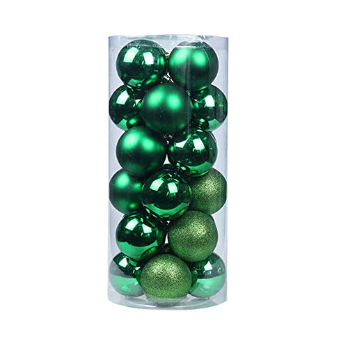 DSMGLSBB 4Cm Christmas Baubles Balls Christmas Decorations,for Christmas,Weddings,Anniversaries,Party,24Pcs/Barrel,Dark Green