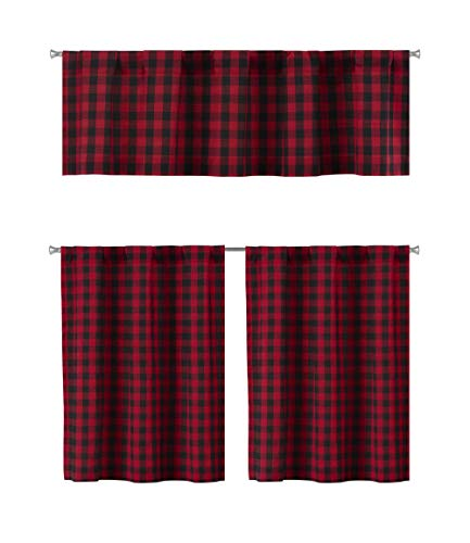 Elegant Linens 3 PC. Country Buffalo Plaid Gingham Checkered Premium Cotton Blend Kitchen Curtain Tier & Valance Set - Assorted Colors (Red/Black)