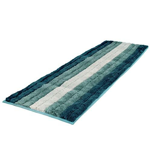 Alfombra de baño, Alfombra Absorbente Antideslizante, Alfombra de baño de Microfibra esponjosa, Alfombra de Baño Antideslizante, Lavable a máquina(Azul-Verde Degradado-Microfibra, 45x120cm)