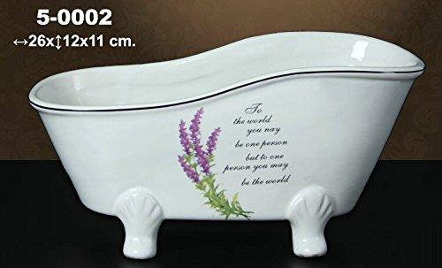 DONGABOWEB badkuip van keramiek, versierd met lavendelbloesems