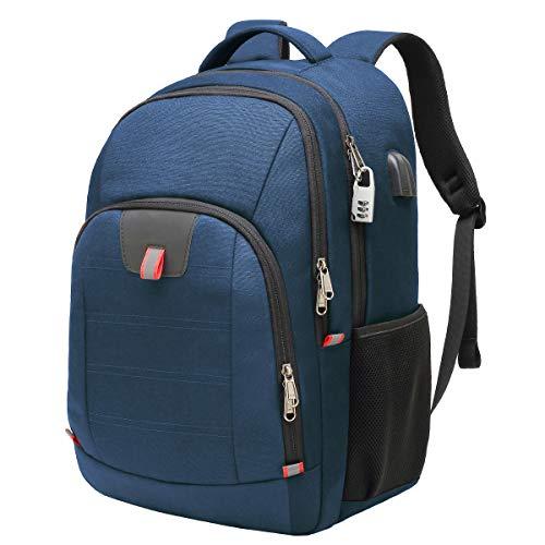 Laptop ryggsäck, extra stor datorryggsäck med USB-laddningsport och hål för hörlurar, vattentålig stor affärsryggsäck för män och kvinnor väska passar 17 tums bärbara datorer anteckningsbok, blå