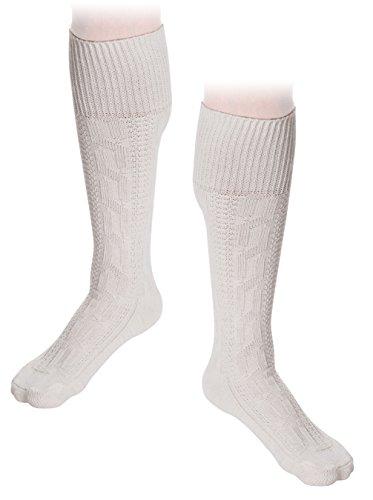 trachenlederhosen24 Trachten Socken Kniebundstrümpfe Weiß Trachtenoutfit Baumwollsocken (45/46,...