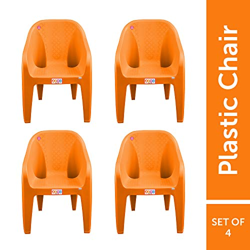 AVRO FURNITURE 9100 Plastic Chairs   Set of 4   Matt and Gloss Pattern   Plastic Chairs for Home, Living Room  Bearing Capacity up...