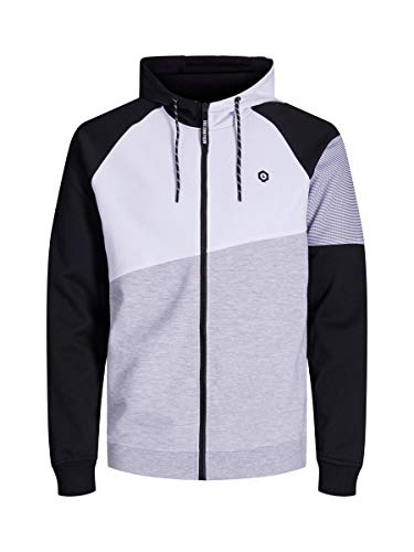 JACK & JONES Jcotake Sweat Zip Hood Veste, Blanc (White White), XX-Large Homme