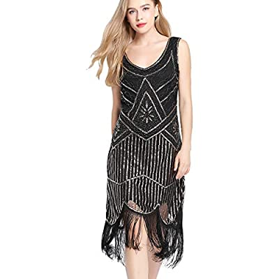 Flapper Dress Gatsby Dresses - 1920s Fringe Dress Roaring 20s Evening Dresses Sequin Bead Dress for Women