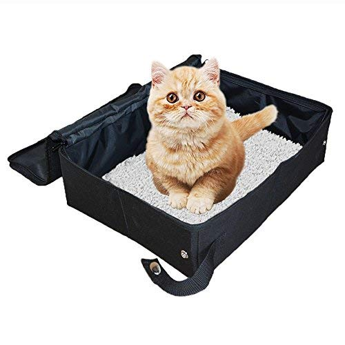 Petleader Collapsible Portable Cat Litter Box Black/Gray for Travel Light Weight...