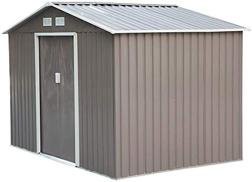 Outdoor Garden House Metal Storage shed 9 x 6FT,Brown