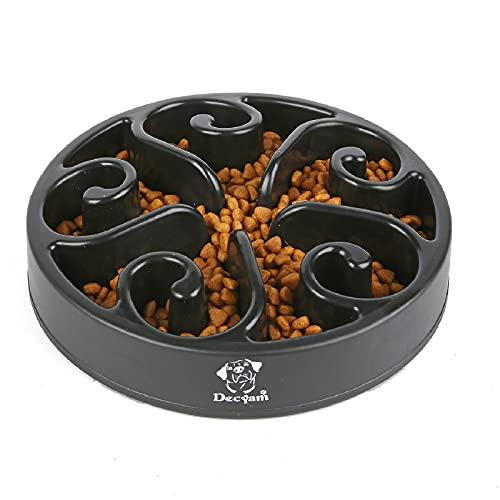 Decyam Anti Schling Napf Hund Hundenapf Langsame Fütterung Langsam Fressen Slow Feeder Dog Bowl (Medium, Schwarz Flower)