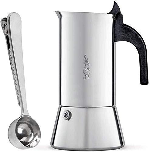 Bialetti Venus 4 Tassen Espressokocher aus Edelstahl Induktion geeignet | Espressokanne für alle Herdarten mit SmartProduct Kaffeedosierlöffel mit Klammer