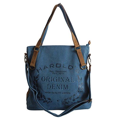 Lässige Canvas Jeans Schultertasche von Harolds - Damentasche, Shopper, Umhängetasche, VintageHandtasche, Denim - Baumwollstoff Segelstoff und Leder (Blau) - präsentiert von ZMOKA®