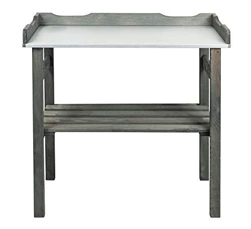 mgc24® Pflanztisch mit verzinkter Arbeitsplatte - 78x38x82cm aus Kiefernholz Anthrazit/Grau, mit Abstellboden / 3 Haken - für Garten Balkon Terrasse