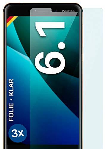 moex Klare Schutzfolie kompatibel mit Nokia 6.1 - Bildschirmfolie kristallklar, HD Bildschirmschutz, dünne Kratzfeste Folie, 3X Stück