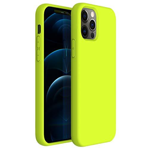 ZUSLAB Compatibile con Apple iPhone 12/ iPhone 12 PRO(6,1') Custodia Silicone Nano , Cover Sottile in Gomma Gel Morbida - Gialla