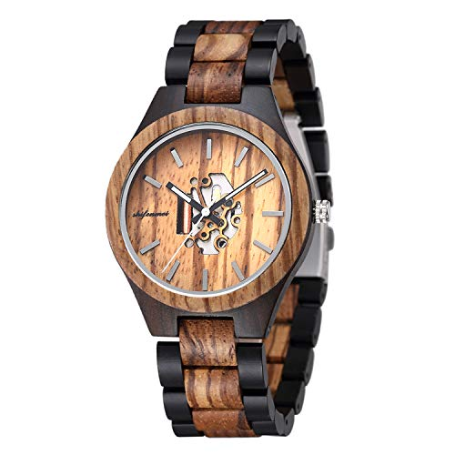 Wooden Mens Watches, shifenmei Handmade Natural Wood Watch Creative Hollowed Dial Japanese Movement Mens Wooden Watches Casual Quartz Wrist Watches for Men with Exquisite Watch Box
