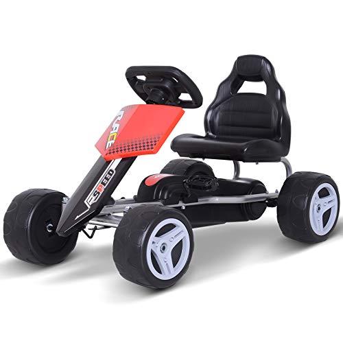Homcom Kart à pédales Go Kart Formule 1 Racing Noir Rouge