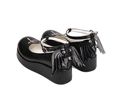 [Soufflesong] (キャラメルボンボン)Caramelbonbon レディースファッション【小悪魔ちゃん 厚底 ストラップシューズ】ペタンコ ヒールなし フラット ストラップ 原宿系 ロリータ ゴスロリ 衣装 コスプレ 靴 ロリータ靴 (41(小さめ25.5cm), ブラック)