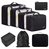 BAGAIL 8 Set Packing Cubes, Lightweight Travel Luggage Organizers with Shoe Bag, Toiletry Bag & Laundry Bag (Jet Black)