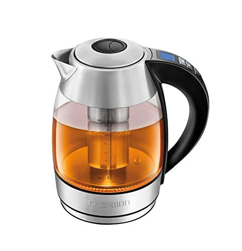 Chefman 1.8L Digital Electric Glass Kettle+ w/ Rapid-Boiling & 7 Presets for Precise Temperature, Stainless Steel Tea Infuser Included, Advanced Digital Control