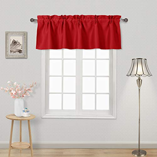DWCN Red Valance Rod Pocket Blackout Window Valance Curtains 52 x 18 inch Long,1 Panel