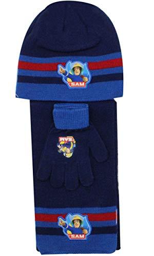 April Fashion Offizielle Jungen Fireman Sam Hat Handschuhe und Mütze Hat Set One Size 3-7 Jahre