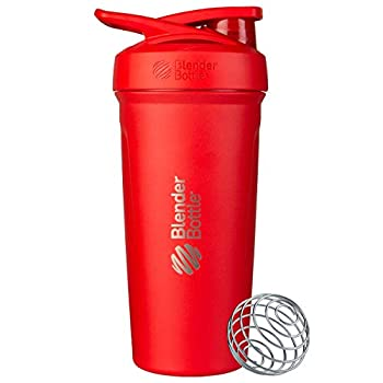 BlenderBottle Strada Shaker Cup Insulated Stainless Steel Water Bottle with Wire Whisk 24-Ounce Red