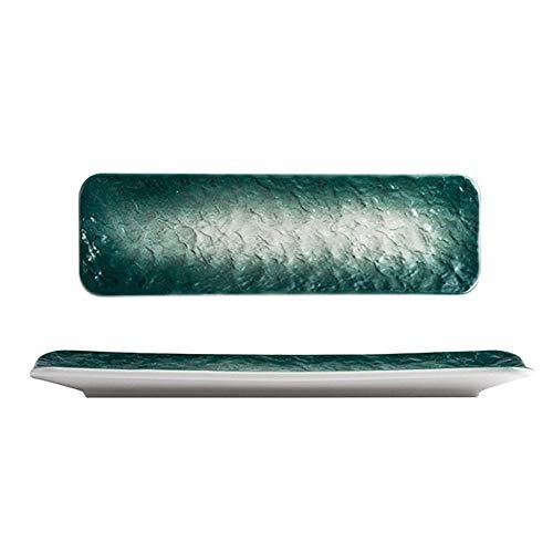 Y-H Japonés Original Sushi Placa Rectangular Placa Larga Plato Hogar Plato de comedor Cerámica Vajilla Olla Cubiertos Set S Tamaño L Tamaño Verde Oscuro Gradiente Piedra Patrón