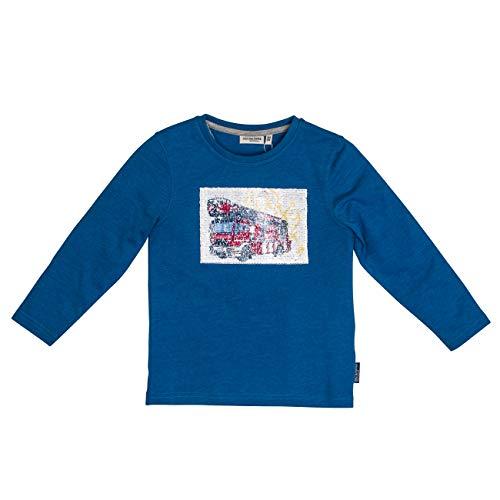 Salt & Pepper Jungen Fire Zone Wendepailletten Langarmshirt, Blau (Blue Melange 454), 104 (Herstellergröße: 104/110)