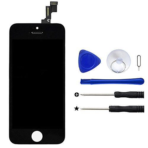 upHere Per iPhone 5C Touch Screen Vetro Schermo + LCD Display Assemblato NERO + Set di Strumenti.
