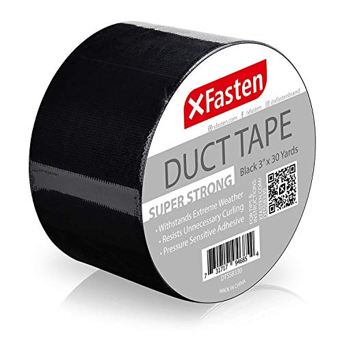 """XFasten Super Strength Duct Tape, Black, 3"""" x 30 Yards, Indoor and Outdoor Duct Tape for School and Industrial Use- Waterproof and Weatherproof"""