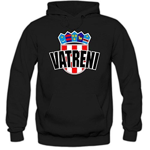 Shirt Happenz Kroatien WM 2018#4 Kapuzenpullover Herren Hrvatska Kockasti Trikot Nationalmannschaft, Farbe:Schwarz (Black F421);Größe:L