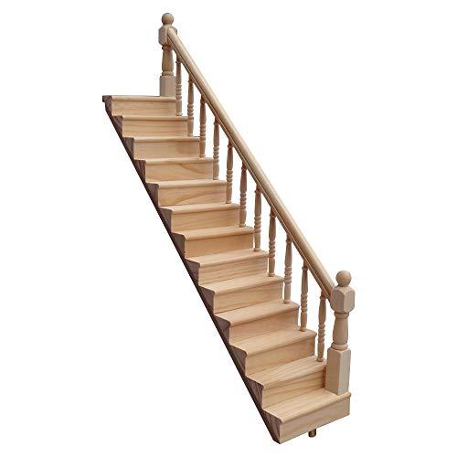 ZZM 1:12 Dolls House Escalera de Madera con barandilla Izquierda/Derecha Pre-ensamblado Pendiente de 45 Grados Miniatura Casa de Juguete Muebles Mini escaleras de Madera